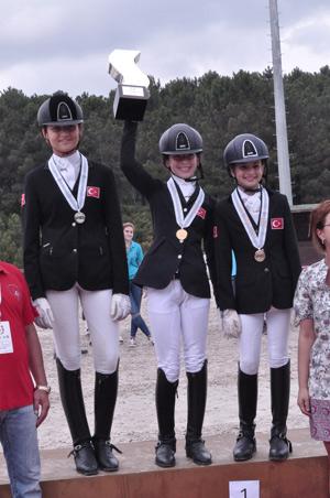 On the podium for the childrens' individual championship; Yagmur Ozturk celebrates winning gold, with silver medalist Irem Kaplan at left, and bronze medal winner Debora Haviyo.