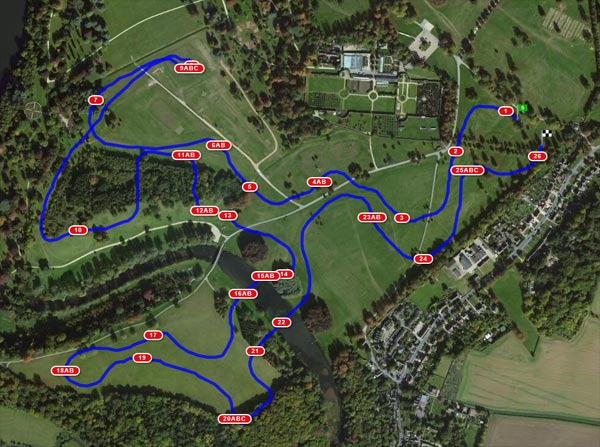 Aerial map of the CCI3* course at Blenheim.