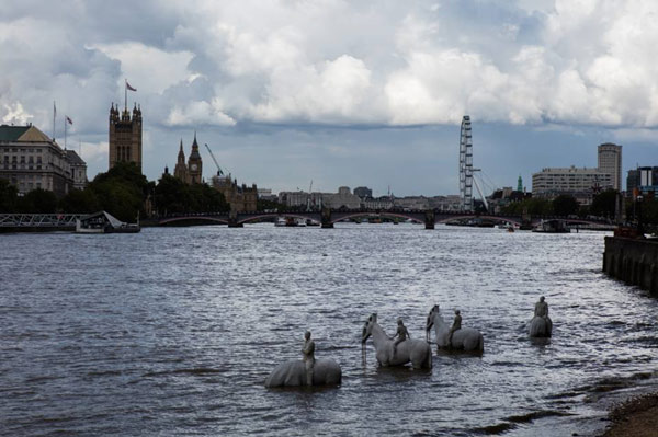 Jason deCaires Taylor's artwork has been placed within the tidal reaches of the Thames, less than a mile from the Houses of Parliament. Photos: Jason deCaires Taylor