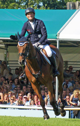 Michael Jung and La Biosthetique Sam after their winning jumping round at Burghley.