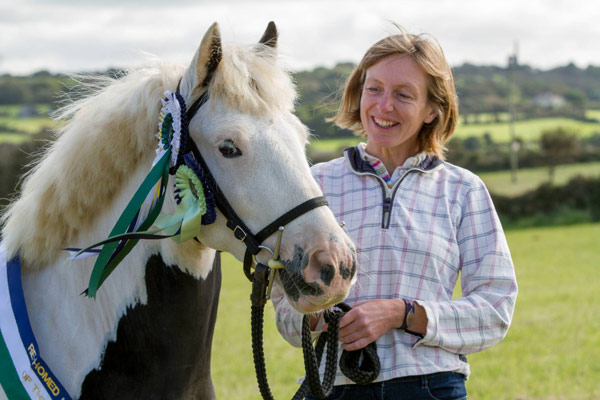 Supreme champion rehomed pony World Horse Welfare Hercules with his rehomer Alison Ironside.