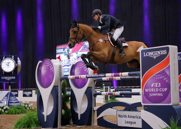 Peter Lutz (USA) and Robin de Ponthual claim victory of the $100,000 Longines FEI World Cup™ Jumping North American League qualifier in Las Vegas (USA).