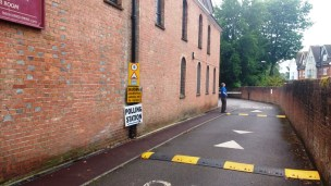 The Causeway Entrance to the Polling Station in the Barn