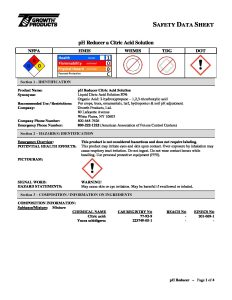 pH Reducer Safety Data Sheet » Hort Americas