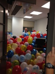 Bryce's office filled with balloons by the undergraduate Hort Club