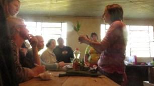 Edel apresentando as plantas e ensinando a fazer um xarope.