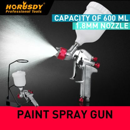 Gravity Feed HVLP Paint Spray Gun 1.8mm Nozzle Touch Up 600ml Pot Stand Holder