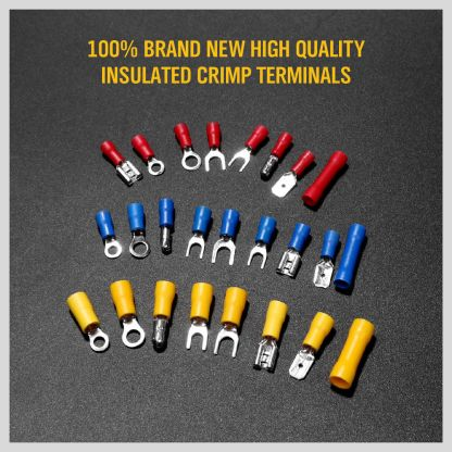 800Pcs Assorted Insulated Electrical Wire Terminal Crimp Spade Connector Kit Box