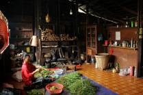 The kitchen and fire place at Bapa and Ibu's in Long Lellang.