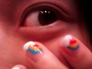 Rainbow nails Closeup