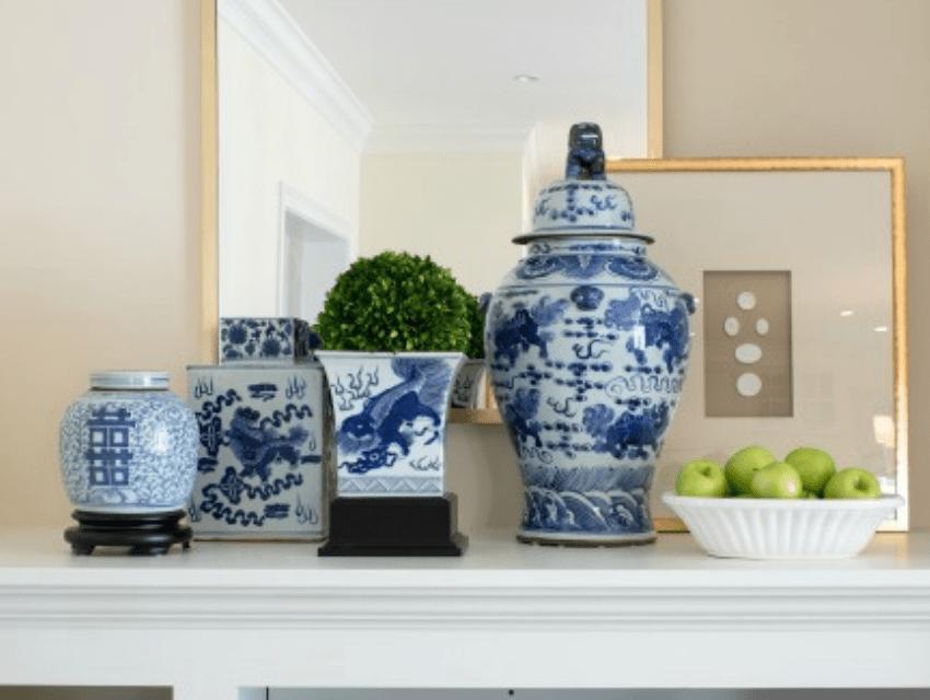 Hoskins-interior-design-Indianapolis-IN-prepare-for-interior-design-consultation-blue-and-white-design-vases-mantle-top