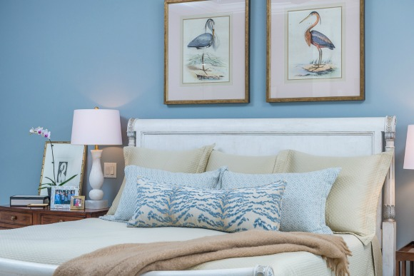 decorative pillows and bird artwork | bedroom design
