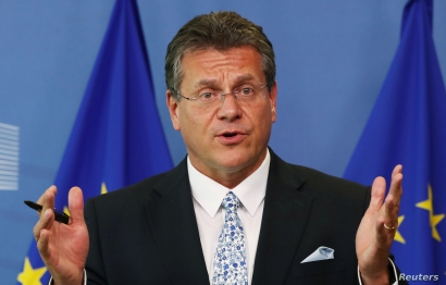 EU Commissioner for Energy Maros Sefcovic attends a news conference after gas talks between the European Union, Russia and Ukraine at the EU Commission headquarters in Brussels, Sept. 19, 2019.