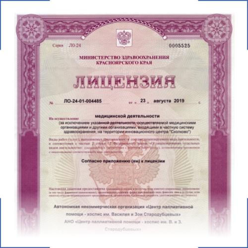 Лицензия Хоспис Стародубцевых