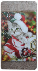 Christmas card design featuring a cat in Santa hat with red scarf and tree decorations