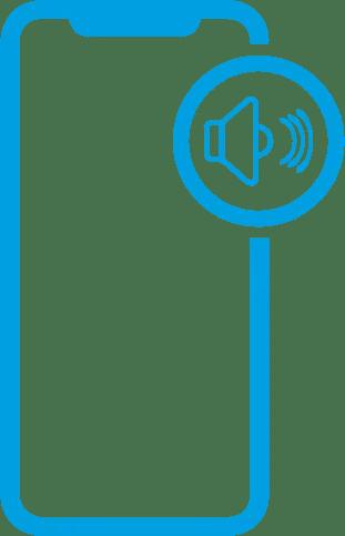 Icone de um iphone com um falante ao lado