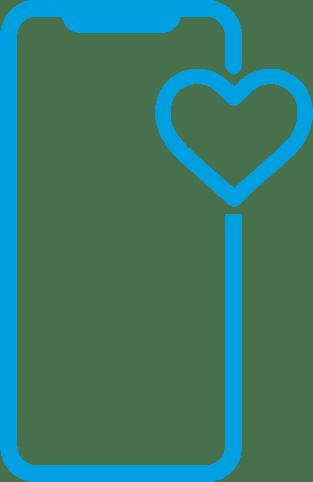 Icone de um iphone com um coracao ao lado
