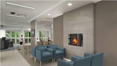 The waiting room at the new Oakville Trafalgar Memorial Hospital.