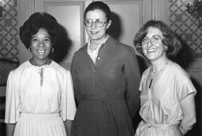 Nursing Pulse.jpg: Jocelyn Hezekiah (left) was president-elect of RNAO in this image from the 1977 annual general meeting. Maureen Powers (centre) and Irmajean Bajnok (right) were executive director and president, respectively.