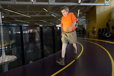 Cardiac-rehab patient Doug Hunter hits his stride on the indoor track at Clareview Community Recreation Centre.into a lifelong exercise habit at Clareview Community Recreation Centre in Edmonton, Alberta on Monday, February 1, 2016.  Amber Bracken