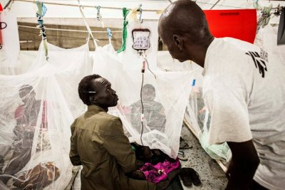 Blood transfusions underway for malaria pateints with anemia. Blood is collected on site by family donors whose blood is tested for Malaria, Syphilis, Hep B and C, HIV and blood grouping. Bentiu POC. Photo by Brendan Bannon. September 2015. Bentiu, South Sudan