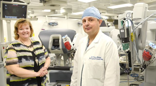 Elaine Fisher gets a close-up look at the da Vinci surgical system which was used in a robotic ventral rectopexy surgery for the first time in Canada at London Health Sciences Centre. Elaine's surgery was performed by LHSC colorectal surgeon Dr. Nawar Alkhamesi.