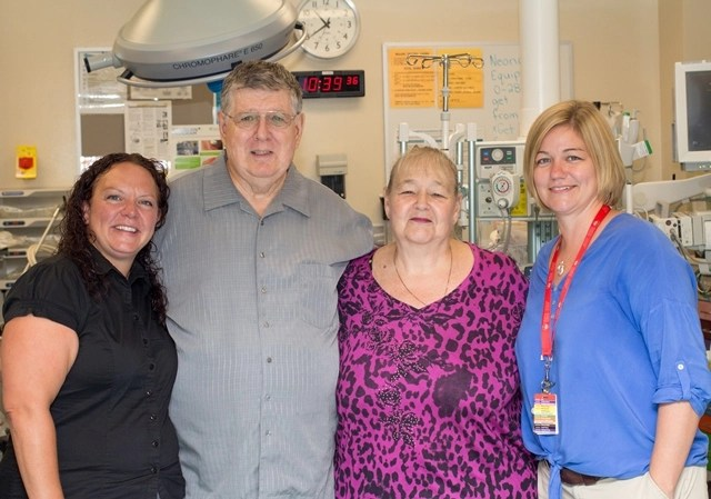 : Bob Collins and his wife Sharon (centre) are joined by Emergency Department RN Jean Durnford and Shelley Hawton, District Stroke Coordinator.
