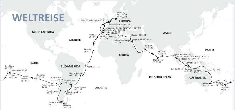 AIDA 2017 Reisekarte