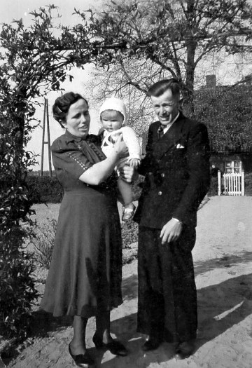 my little dad and his parents in the kitchengarden