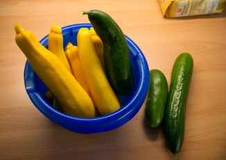 Courgettes and even more cucumbers .