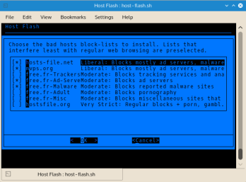 Host Flash downloads hostname blocklists from any combination of multiple reputable source locations.