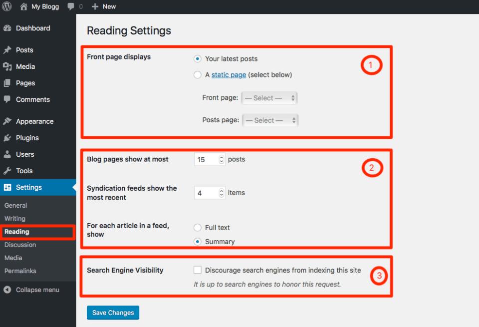 Reading Settings on WordPress