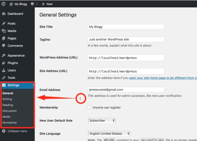 General Settings on WordPress