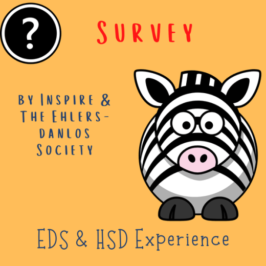 A comic-like zebra and text: Survey by Inspire and the Ehlers-Danlos Society, EDS & HSD Experience