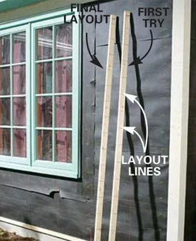 Mark layout lines on story poles, then use the poles to mark the courses of fiber cement board siding on the wall.