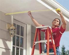 Photo 1: Measure your soffits to determine the pergola column centers