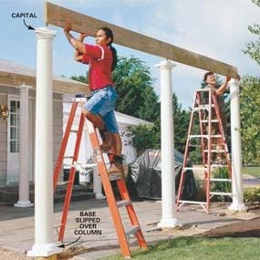 Photo 9: Set the beam over the columns