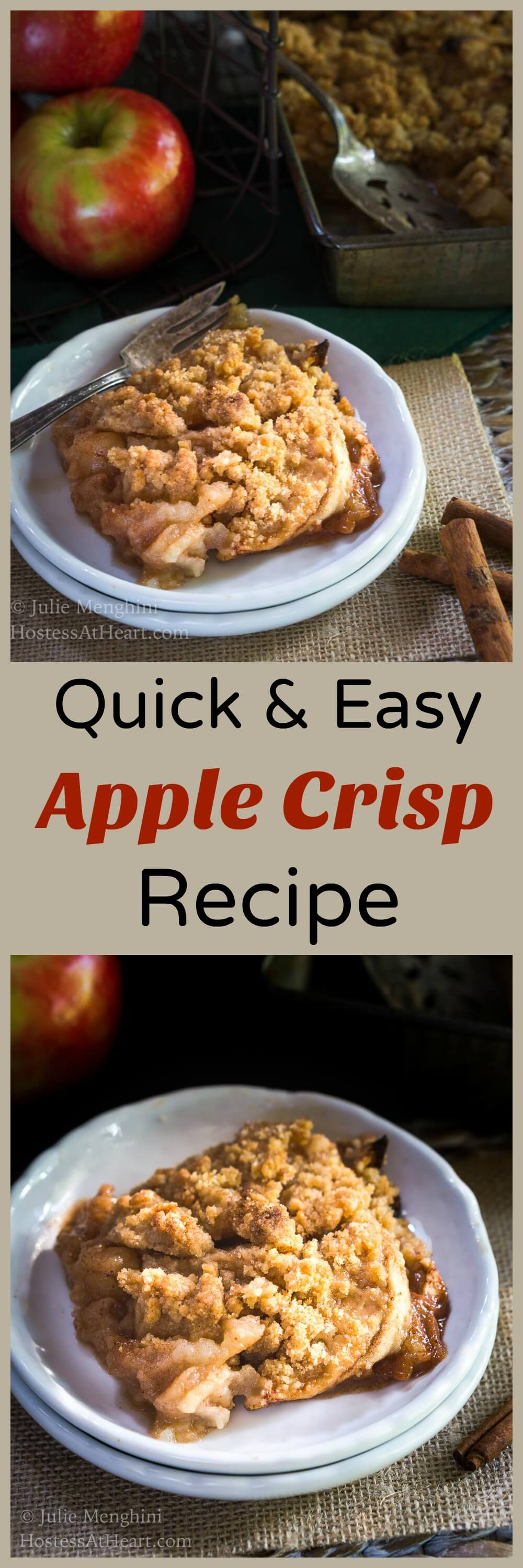 I'll take this Quick and Easy Apple Crisp dessert over cake anytime. It's simple to put together and the perfect treat especially with a dollop of frozen yogurt. | HostessAtHeart.com