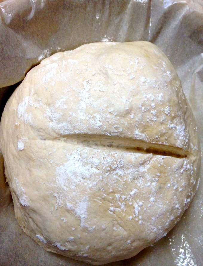 Almost No-Knead Bread has that soft and delicious crumb with craters that butter just begs to drip into, and a crusty exterior | HostessAtHeart.com