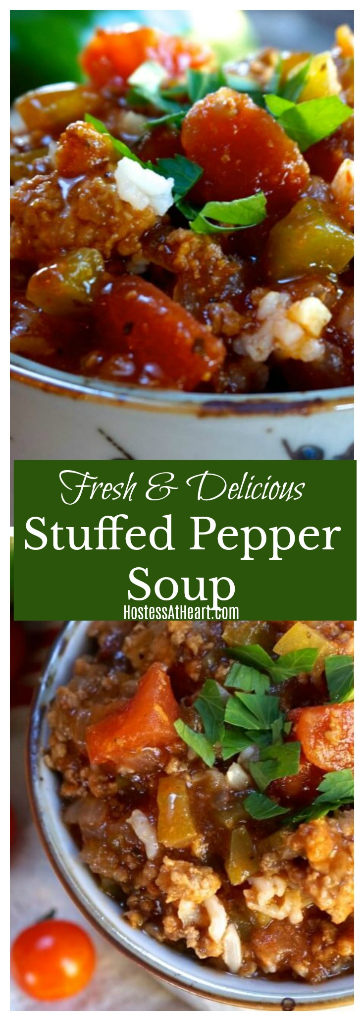 Stuffed Pepper Soup is a healthy and hearty dish that is a great way to use fall veggies. It's the perfect comfort dish to enjoy at the end of a long day. #souprecipes, #soup #cookinglight, #healthyrecipes | HealthyFamily Recipes | Dinner Ideas