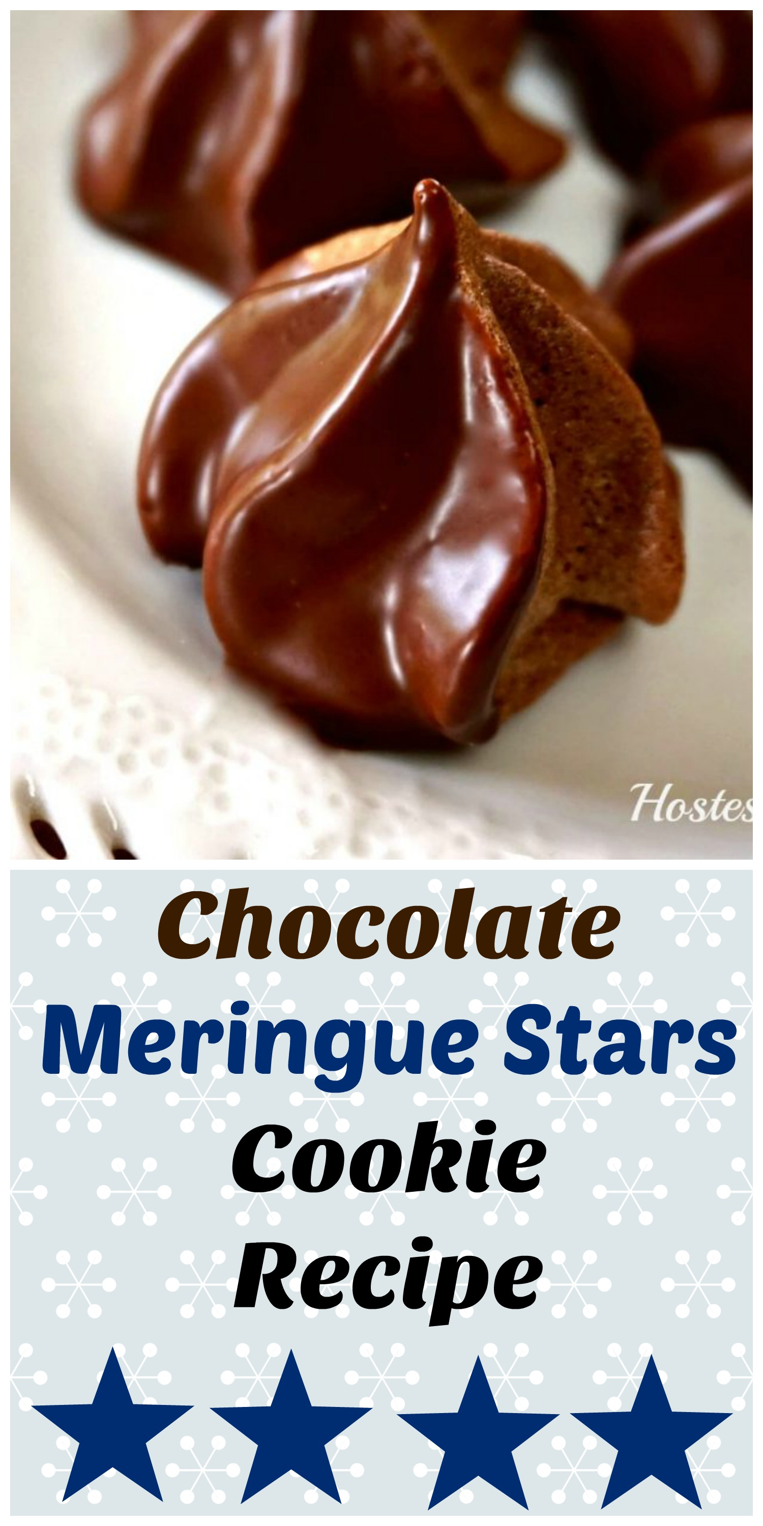 Chocolate Meringue Stars are a delicious cookie with a soft center and a nice little crunch on the outside.  They are pretty to look at and easy to make. #ChocolateDessert #recipe #cookies #homemade #baking | cookies | baking | chocolate Dessert