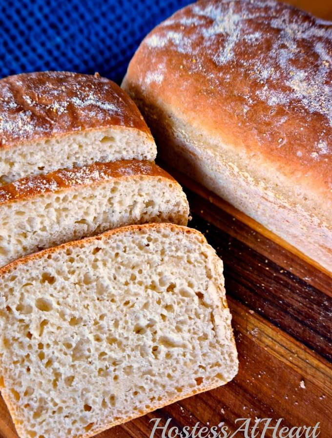 English Muffin Bread is an easy and delicious bread that uses no oil or eggs, and doesn't require kneading. This bread makes a great sandwich and the best toast. - HostessAtHeart