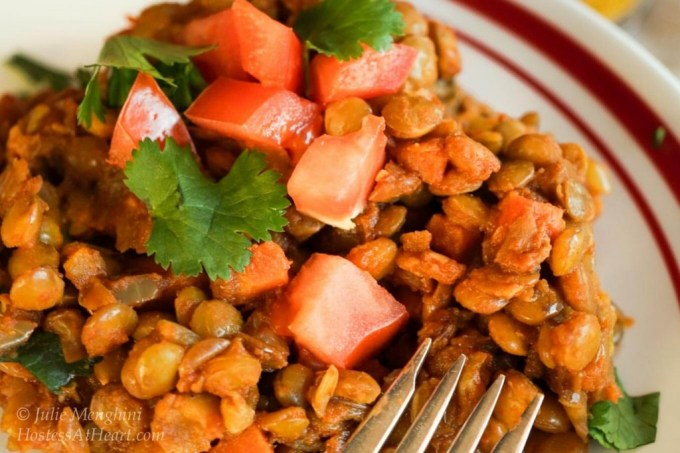 This Green Lentil Curry recipe has an earthiness from the curry and a sweetness from the tomato and is guaranteed to be a favorite in your home| HostessAtHeart.com