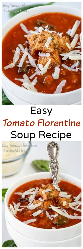 Easy Tomato Florentine Soup is your childhood tomato soup all grown up. It is creamy and delicious without using a lot of fat that you'll never miss! | HostessAtHeart.com
