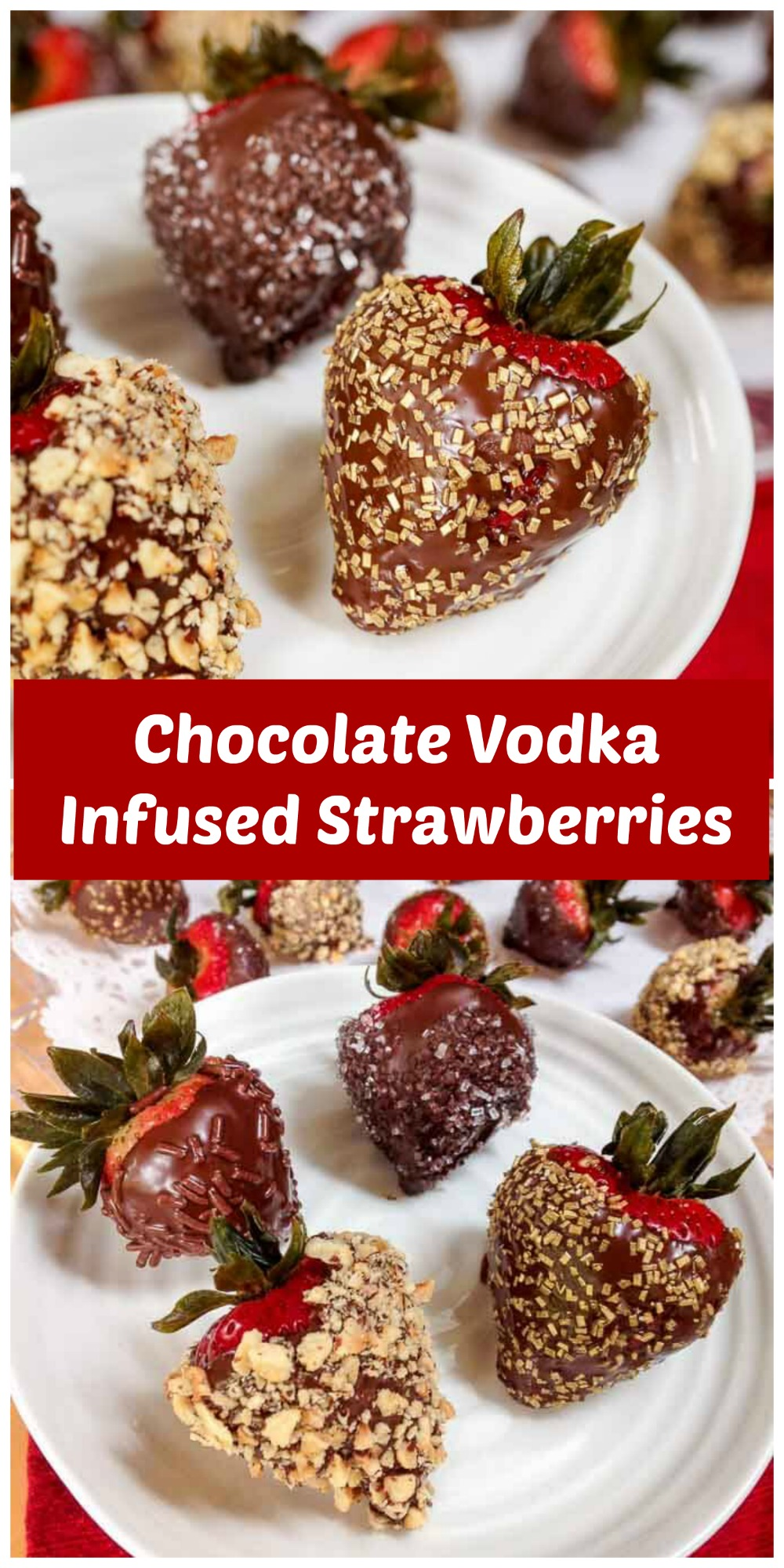 Chocolate Vodka Infused Strawberries is an appetizer that will get the party started. They are just as pretty to look at as they are delicious to eat! #appetizer #PartyFood | Easy Party Food