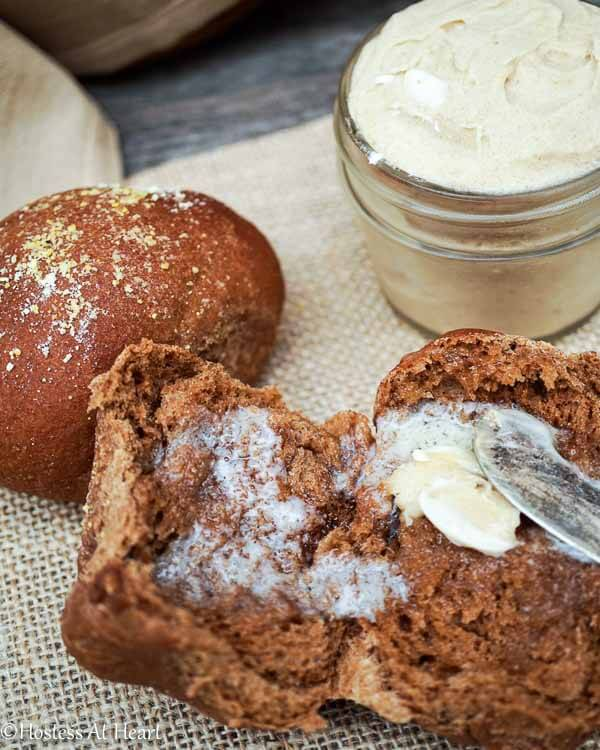 Sweet Molasses Brown Bread recipe make soft brown rolls that are delicious. Molasses and honey a give these rolls a mild sweetness and great flavor. HostessAtHeart.com