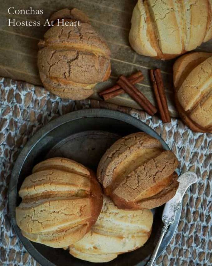 Conchas are an authentic Mexican yeast bread. They are a sweet bread that are tender and delicious and perfect for breakfast or at any meal | HostessAtHeart.com