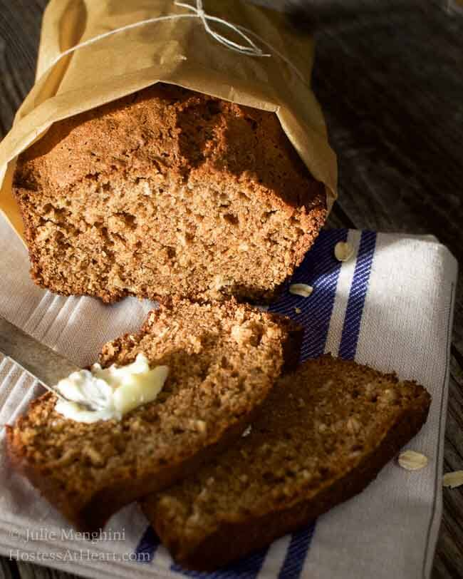 This Applesauce Oatmeal bread #recipe is a quick, easy and delicious. It's perfect as is or you can add nuts, raisins or other additions to your liking. #Homemade