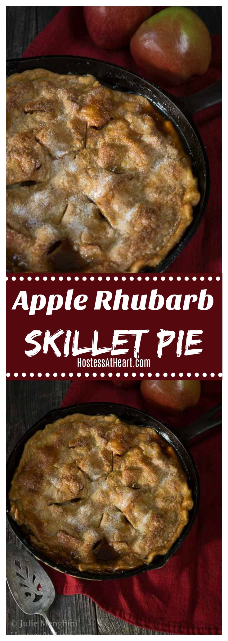 An easy Apple Rhubarb Skillet pie recipe that combines the sweetness of apple and brown sugar with tart rhubarb, all nestled together in a warm buttery pie crust. #pie #dessert #rhubarb
