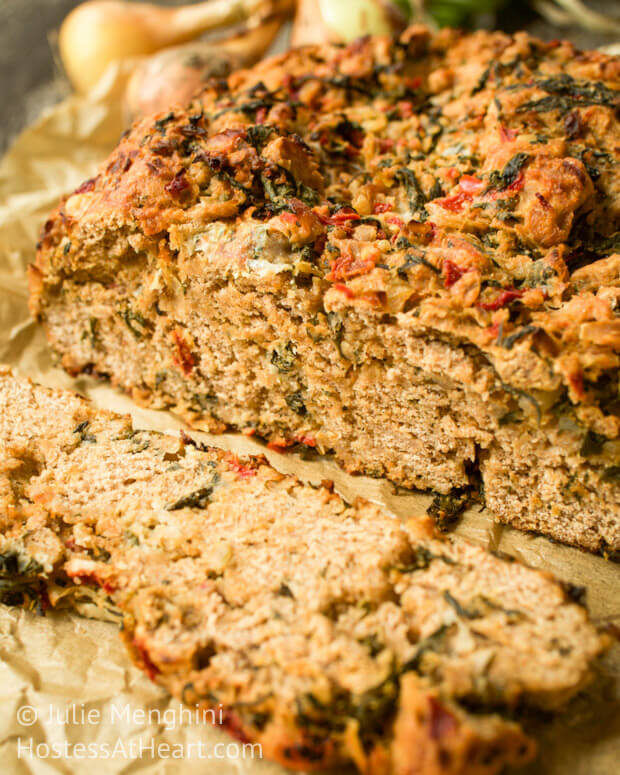 A Whole Wheat Spinach, Onion and Roasted Red Pepper Bread recipe that is so moist and delicious that you forget it's healthy. | HostessAtHeart.com